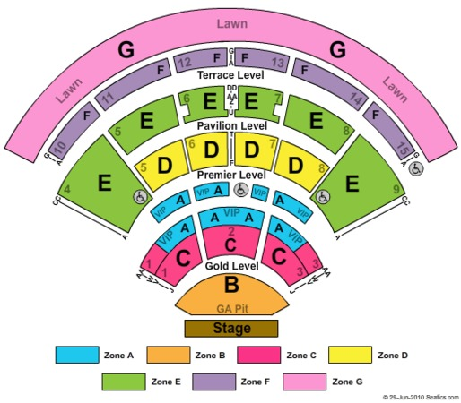 Verizon Wireless Amphitheatre Charlotte End Stage GA Pit Zone