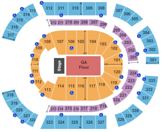 Bridgestone Arena End Stage Floor GA