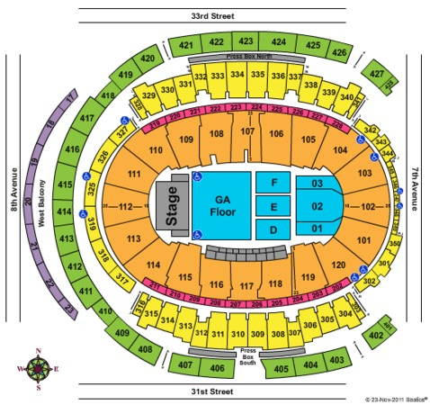 Madison Square Garden Concert-Fall 2011/2012 GA Pit Seating Chart