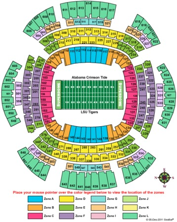 Mercedes benz superdome tickets in new orleans louisiana for Mercedes benz seating chart