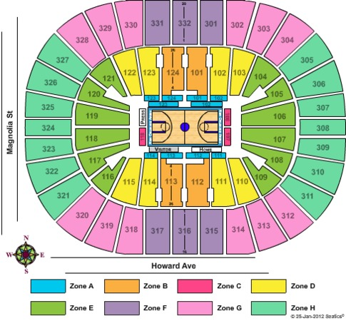Smoothie King Center Basketball 2012 - Zone