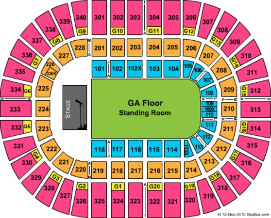Nassau Veterans Memorial Coliseum EndStage GA Floor NO Interactive