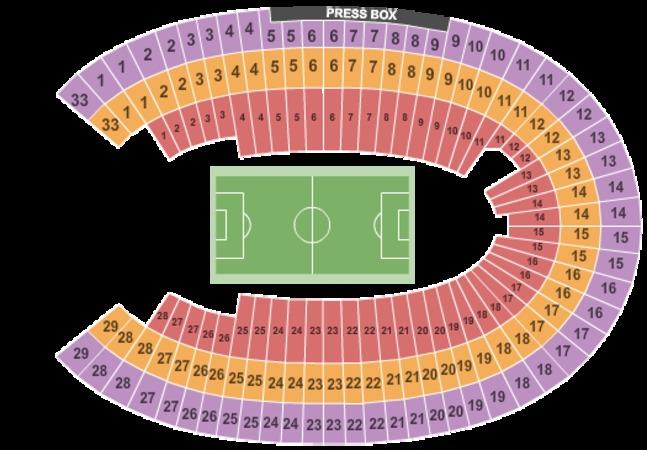 Seating Chart Los Angeles Coliseum Los Angeles Memorial Coliseum