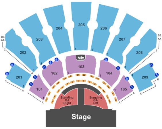 Planet Hollywood Theater Of The Performing Arts End Stage GA Stand - VIP Tables