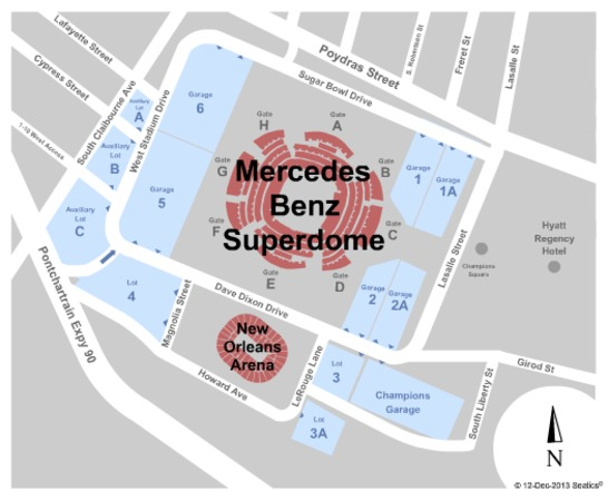 Mercedes benz superdome tickets in new orleans louisiana for Mercedes benz stadium parking