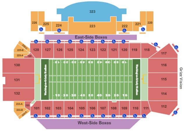 washington grizzly stadium seating chart: Washington grizzly stadium tickets in missoula montana seating