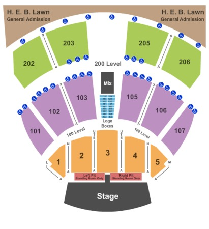Austin360 Amphitheater Endstage GA Pit Left & Right