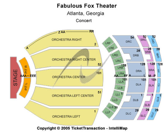 Fabulous Fox Theatre Tickets In Atlanta Georgia Seating Charts