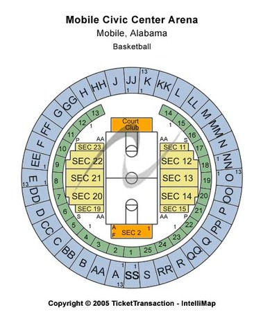 Mobile Civic Center Arena Tickets In Mobile Alabama Seating Charts