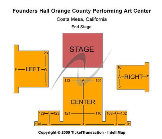 Segerstrom Center For The Arts Founders Hall Tickets In Costa Mesa