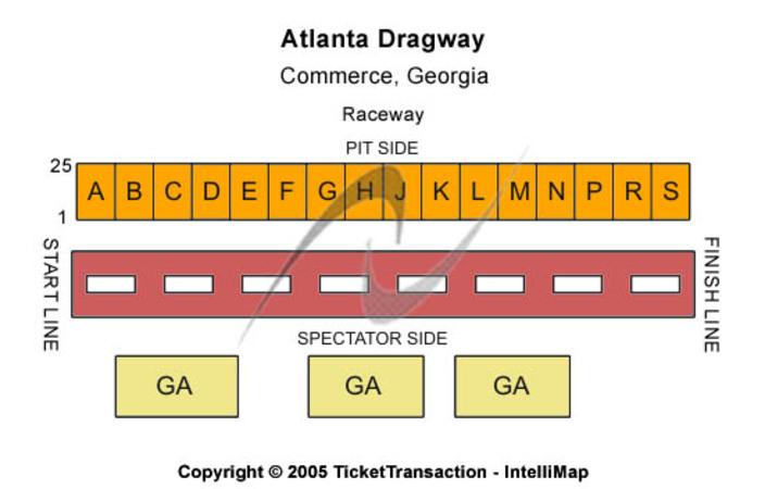 Atlanta Dragway Tickets In Commerce Georgia Atlanta Dragway Seating