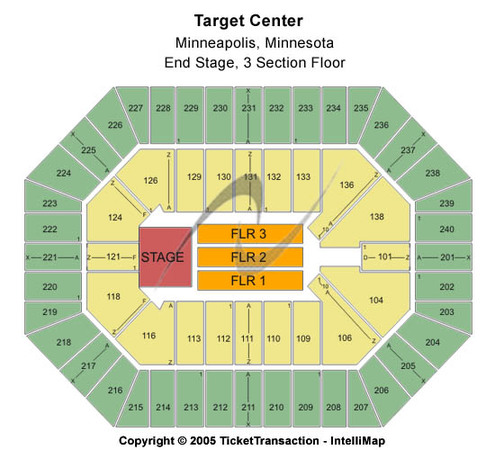 Target Center End Stage - 3 Section Floor