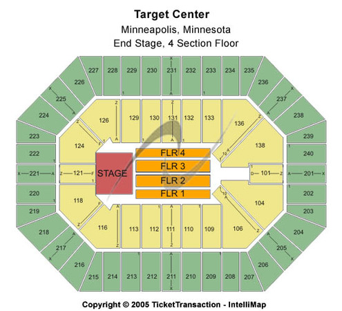 Target Center End Stage - 4 Section Floor