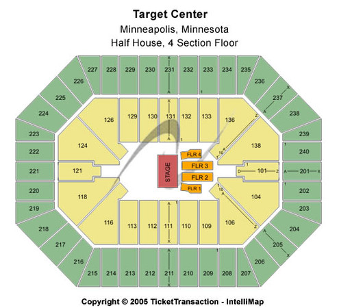 Target Center Half House 4 Section Floor
