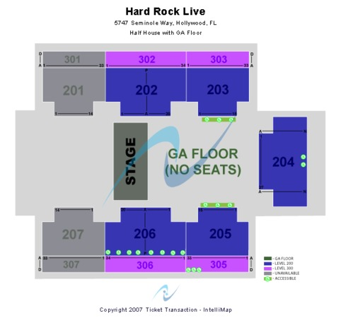 Hard Rock Live At The Seminole Hard Rock Hotel & Casino - Hollywood Half House GA