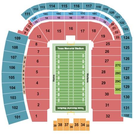 Darrell k royal memorial stadium tickets in austin texas seating