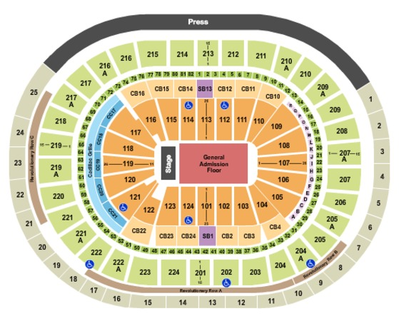 Wells Fargo Center End Stage GA Floor