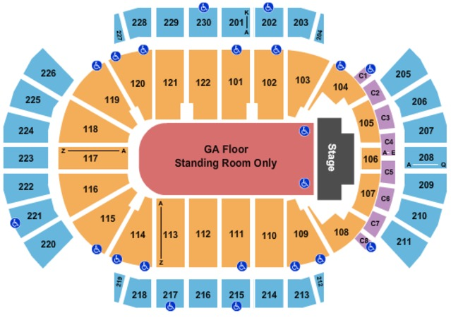 Gila River Arena End Stage GA Floor